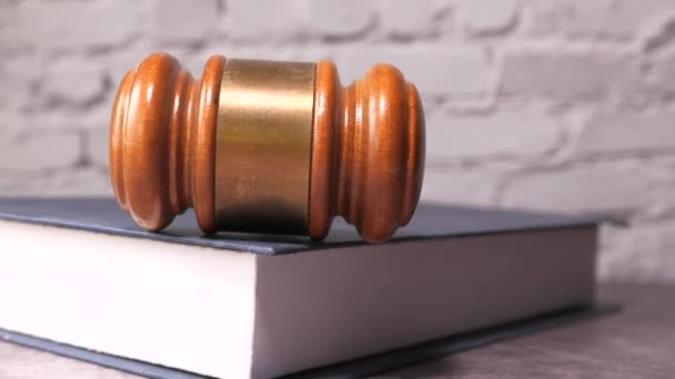 Close up of gavel on a books, law and order concept
