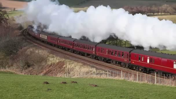 Preserved steam locomotive Scots Guardsman heads the Winter Cumbrian Mountain Express through Armathwaite, on the Settle to Carlisle railway in northern England.