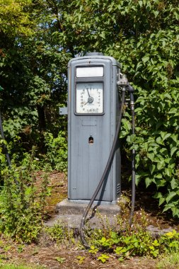 A disused Gilbarco petrol pump is pictured near Lauder in the Scottish Borders.  Gilbarco was founded in 1870 and manufactures fuel dispensers.