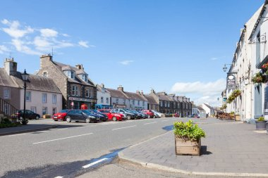 The view along Lauder high street.  Lauder is a small town in the Scottish borders.