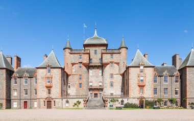 Thirlestane Castle in Lauder, Scotland.  The 16th century castle, a restored country home, is set in the Scottish Borders.