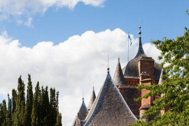 The ogee roof and turreted towers of Thirlestane Castle in Lauder, Scotland.