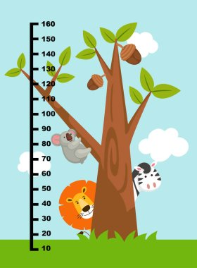 Meter wall with wild animals.illustration.