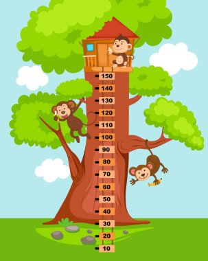 Meter wall with tree house.vector illustration. clip art vector
