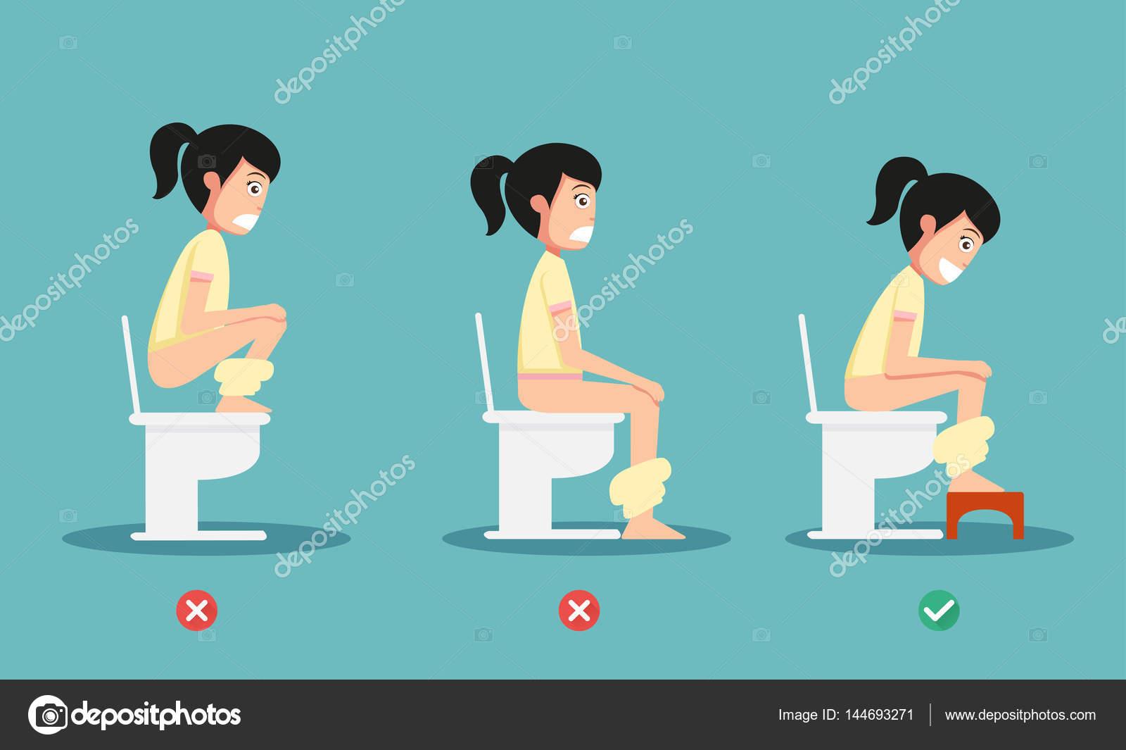 Ungesunde Vs Gesunde Positionen Für Stuhlgang Abbildung