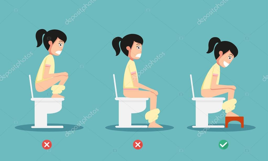 Ungesunde vs gesunde positionen f r stuhlgang abbildung - How to use the bathroom when constipated ...
