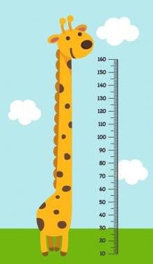 Meter wall with giraffe. illustration.