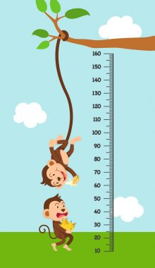 Meter wall with monkey.vector illustration. stock vector