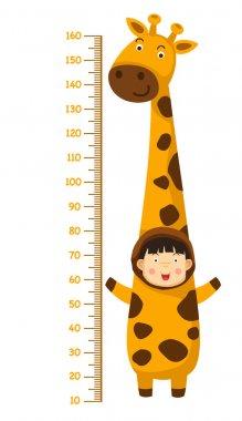 Meter wall with giraffe costume.vector illustration clip art vector