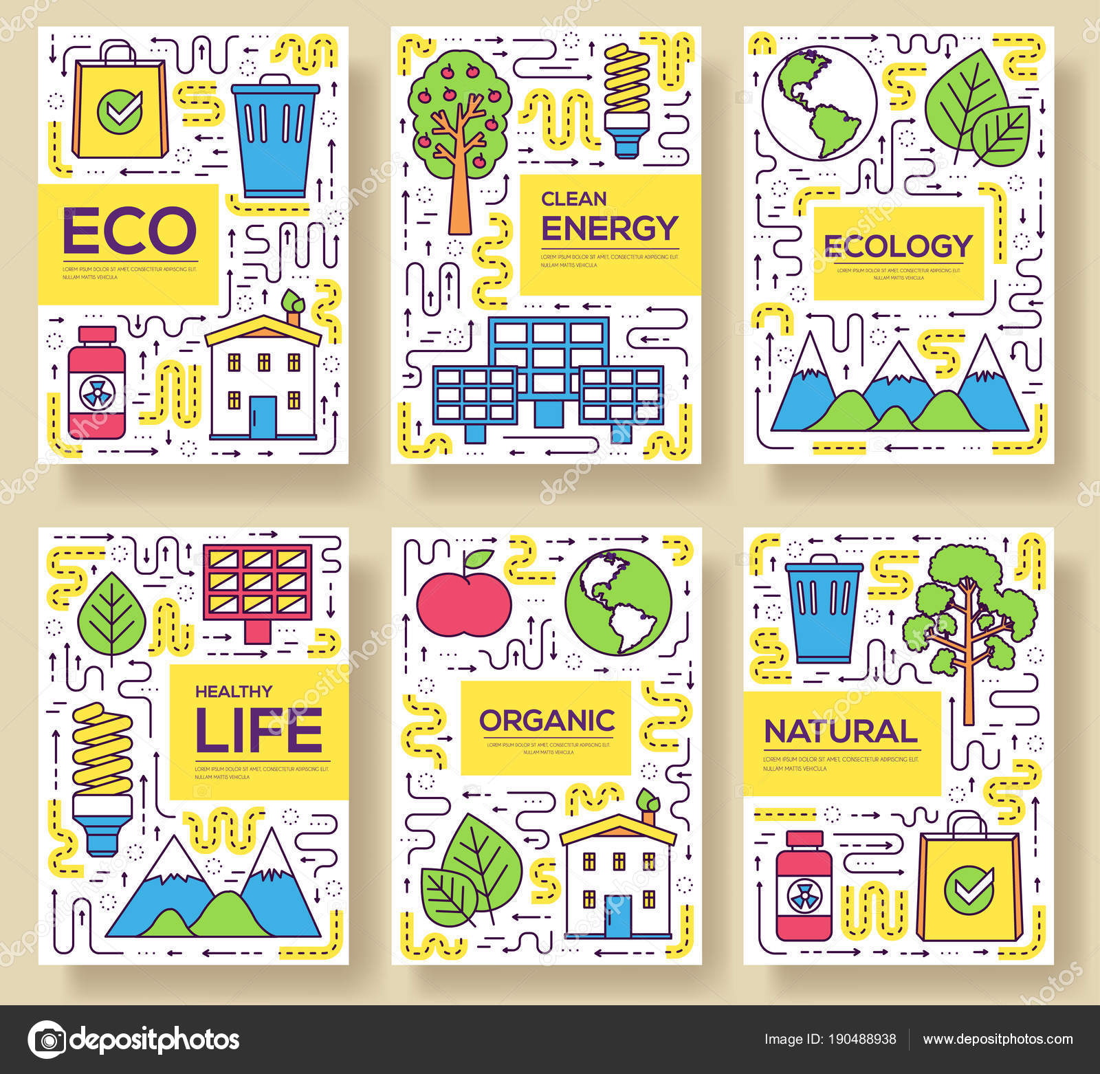 Tarjetas de folleto de vector de energía limpia delgada línea ...