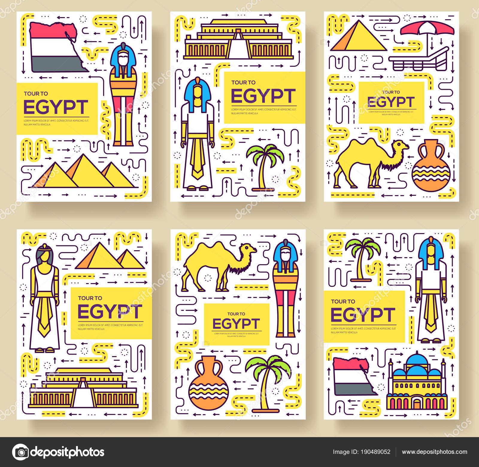 Land Ägypten Reisen Urlaub Guidevector Broschüre Kartenset dünne ...