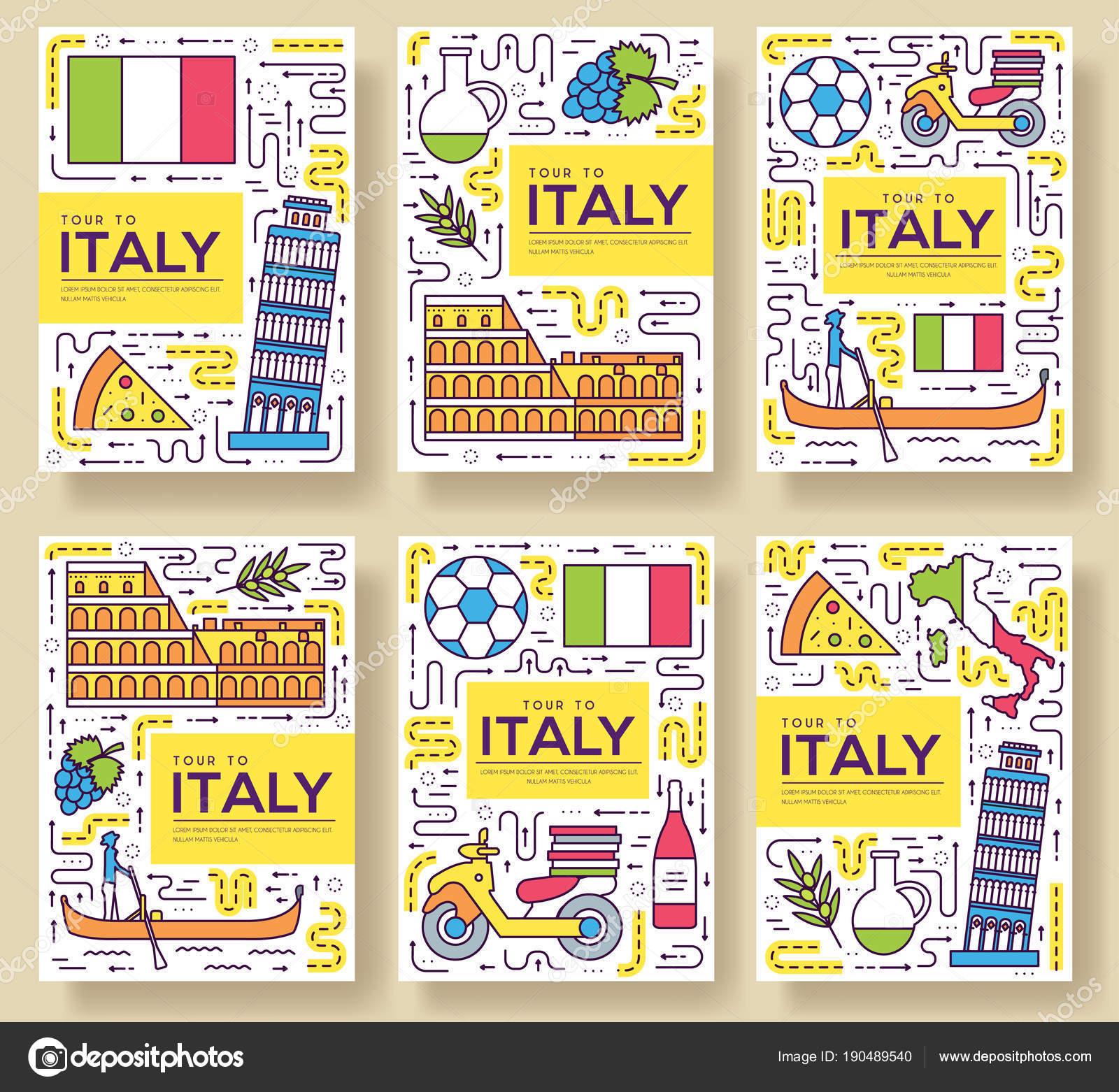 Italia vector brochure tarjetas delgada línea conjunto. País de ...