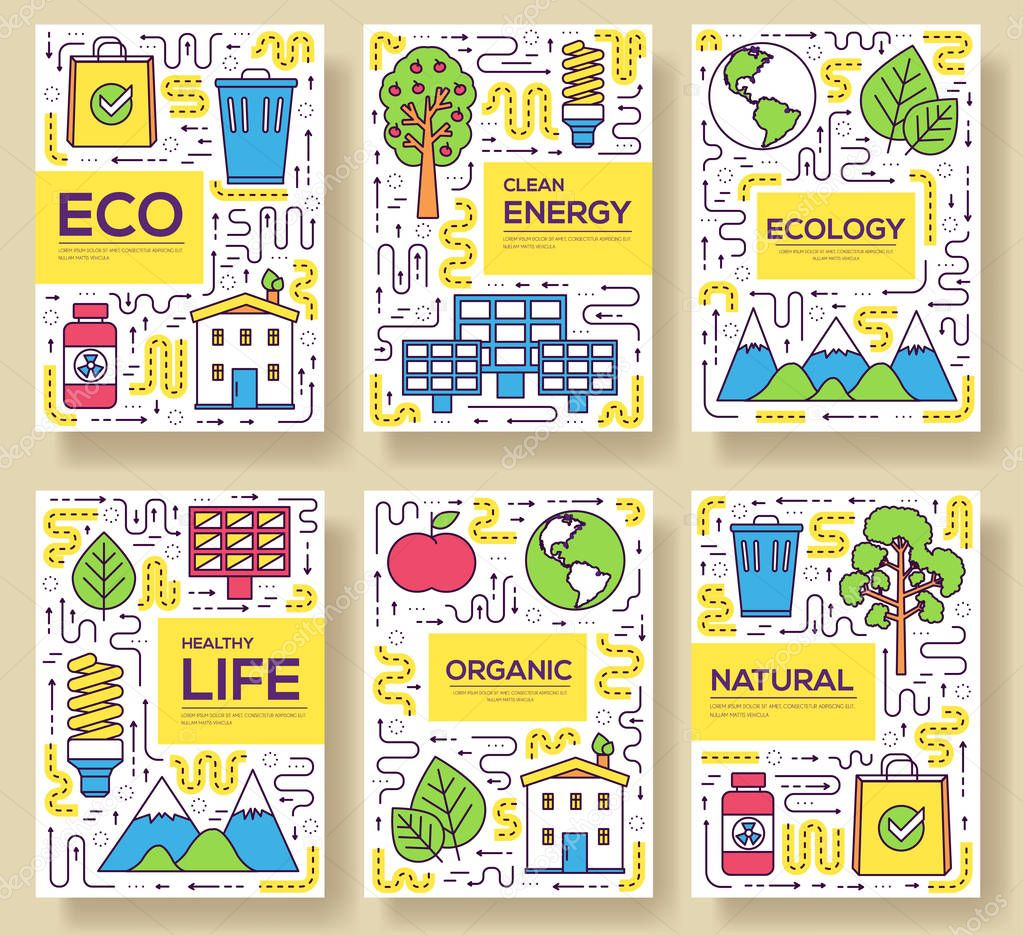 Clean energy vector brochure cards thin line set. natural resources template of flyear, magazines, posters, book cover, banners. Layout ecology outline illustrations modern pages.