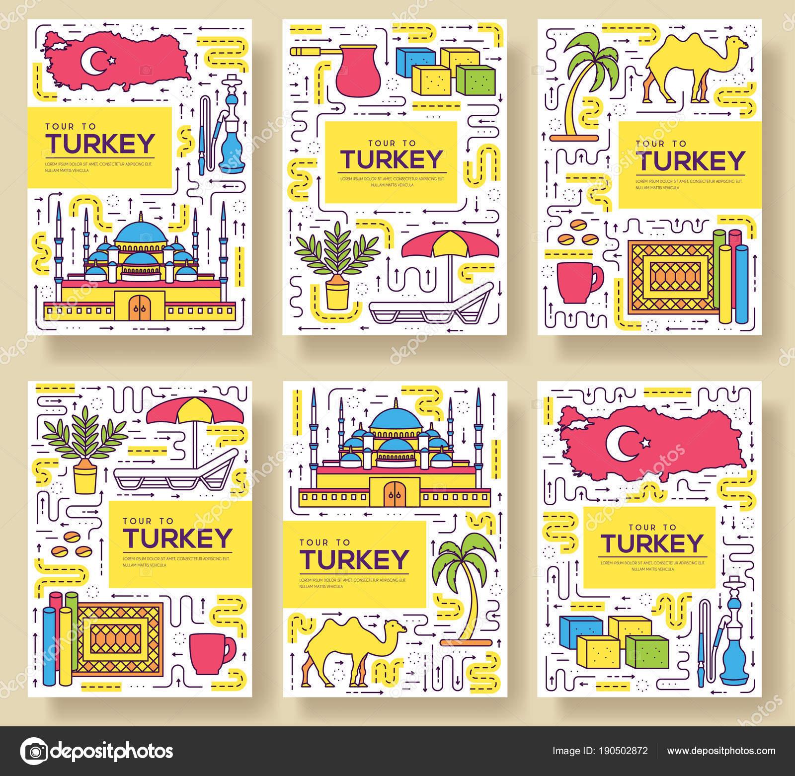 País Turquía vector brochure tarjetas delgada línea sistema ...