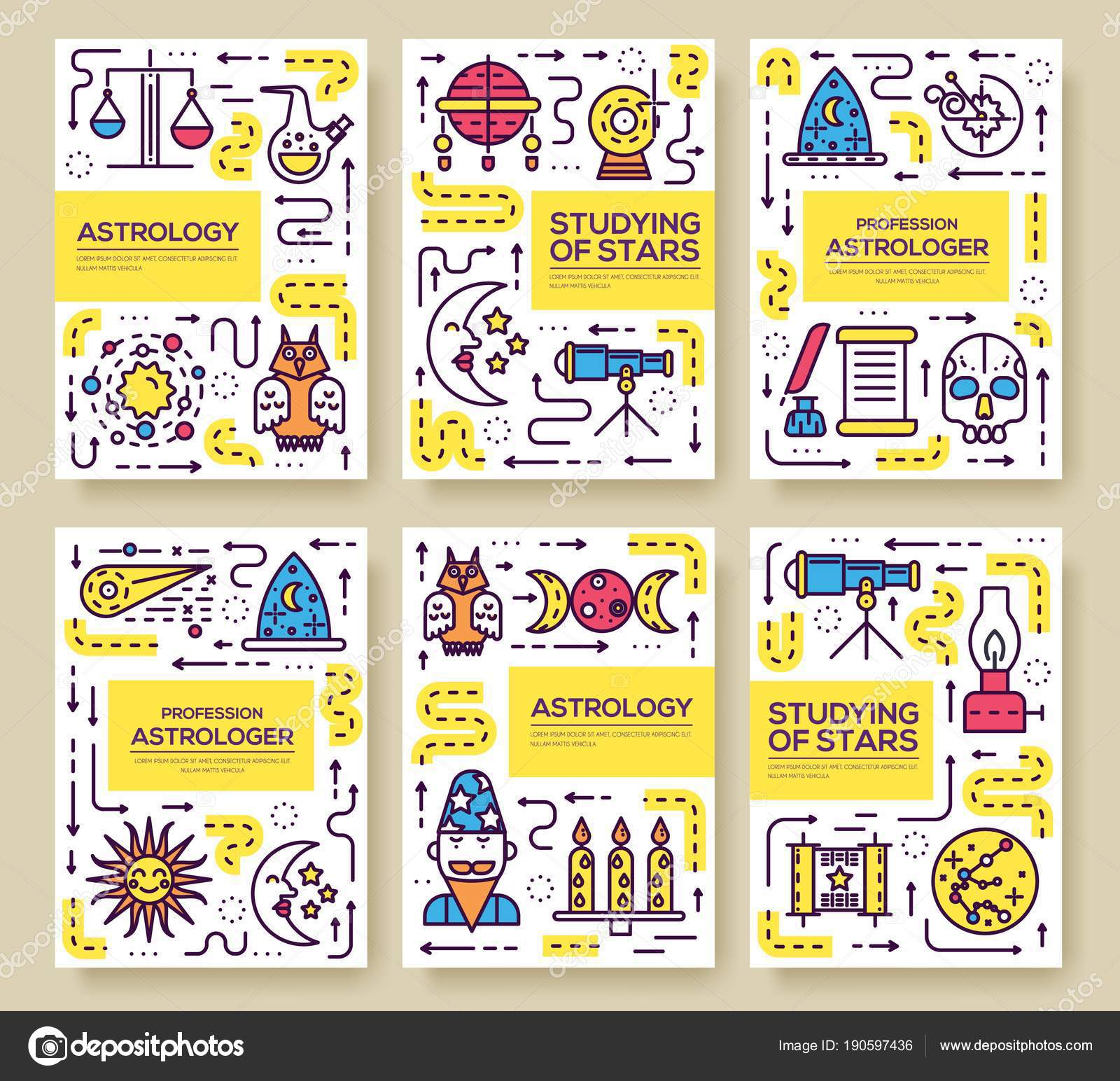 Astrologie-dünne Linie Broschüre Karten festgelegt. Die bunte ...