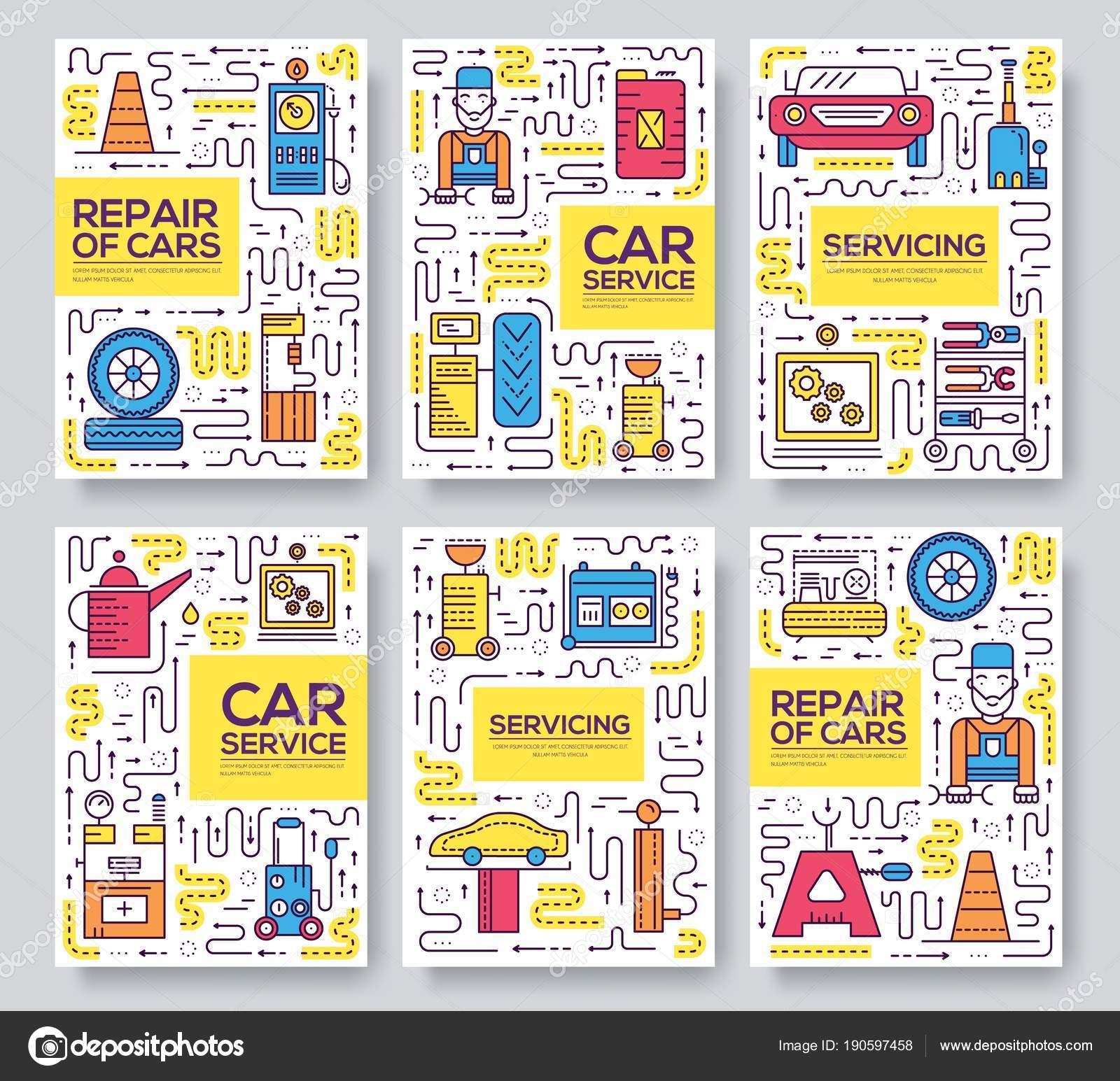 Auto-Service-Vektor-Broschüre-Karten dünne Linie gesetzt. Mechaniker ...