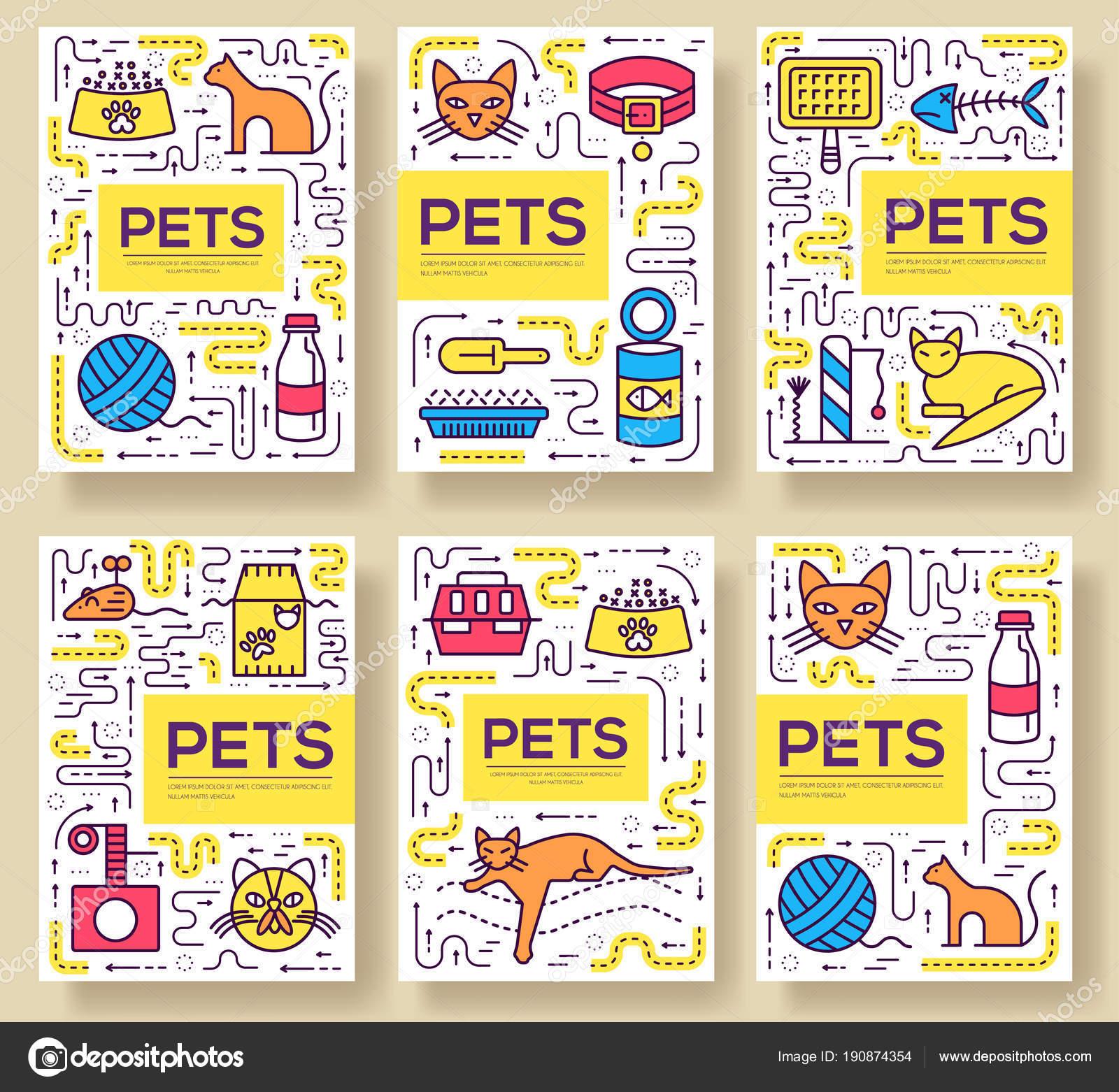 Tarjetas de vectores animales folleto delgada línea. Plantilla de ...