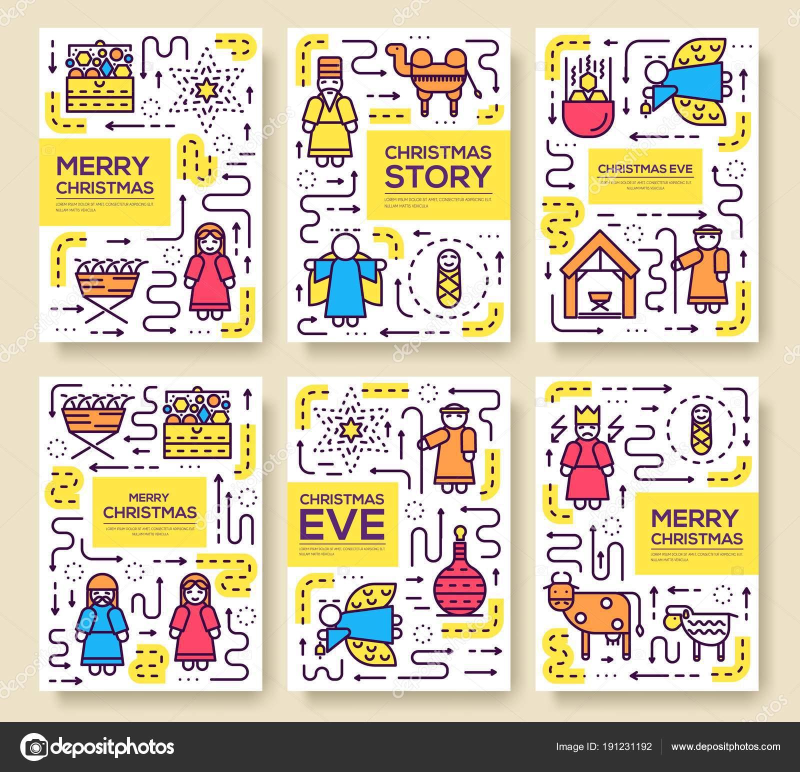 Feliz Navidad vector brochure tarjetas configuradas. nacimiento de ...