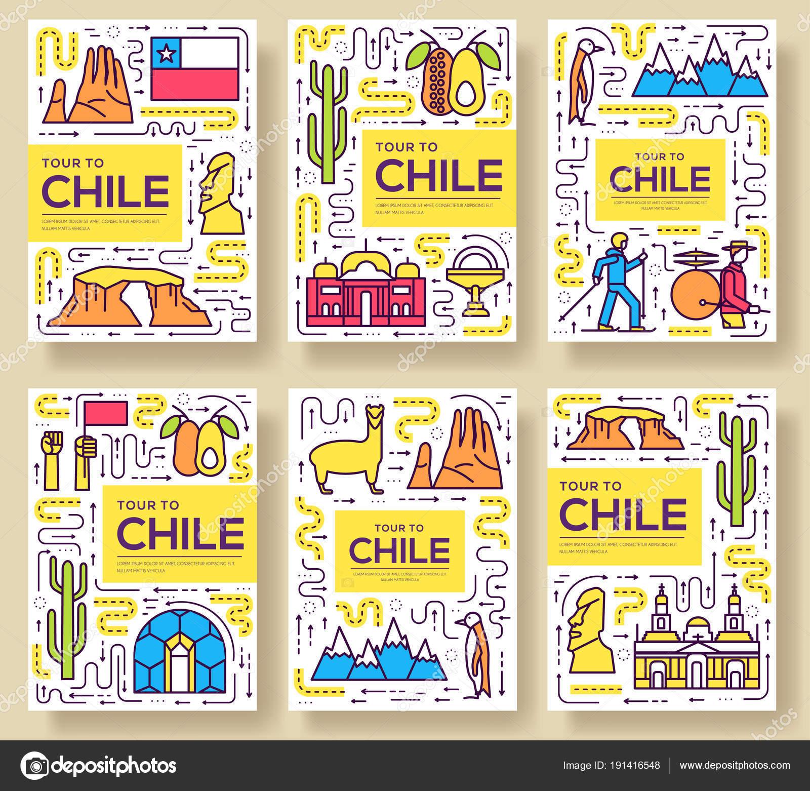 Chile Vektor Broschüre Karten dünne Linie Set. Land reisen Vorlage ...