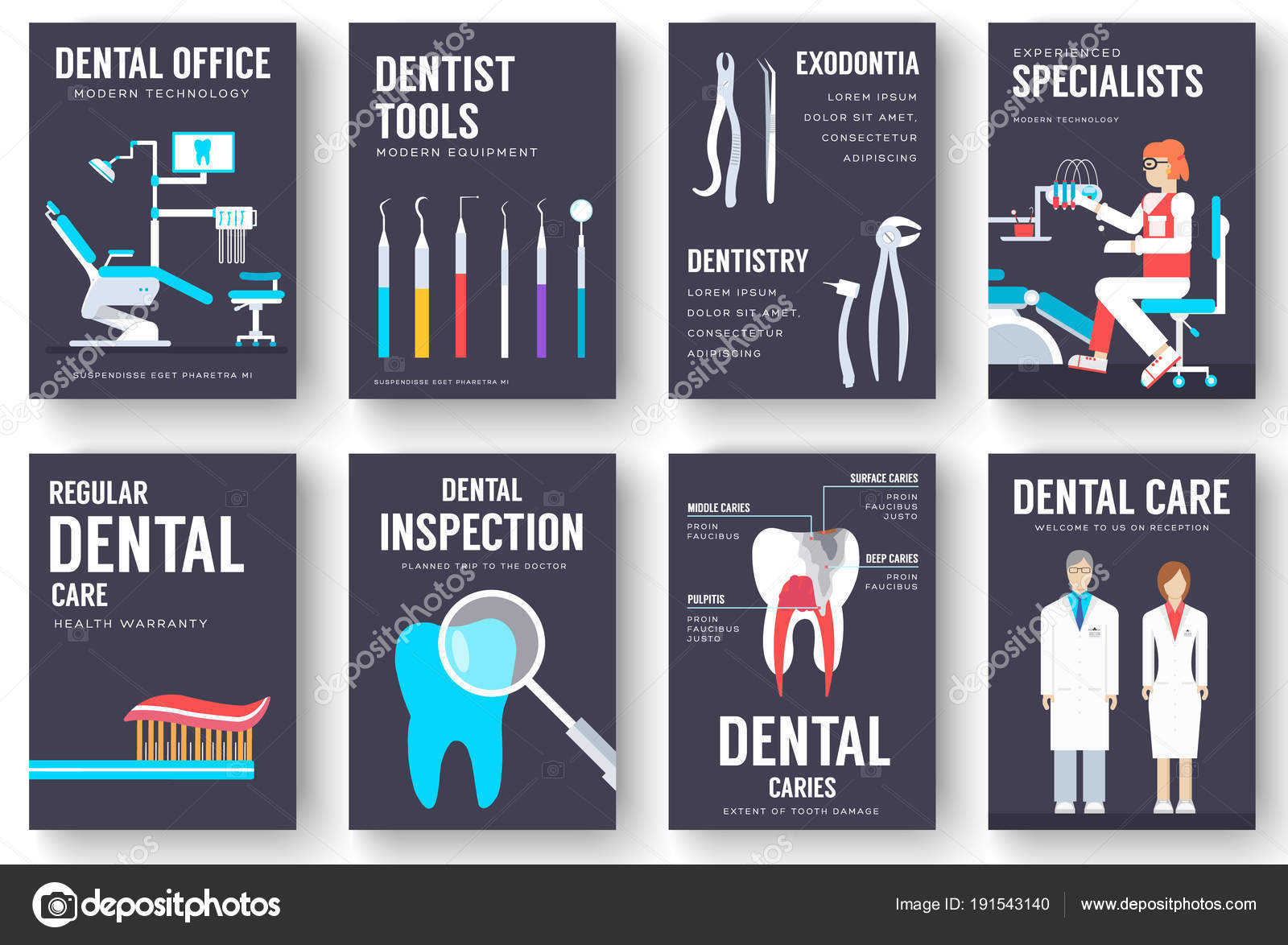 Conjunto de tarjetas de información interior de consultorio dental ...