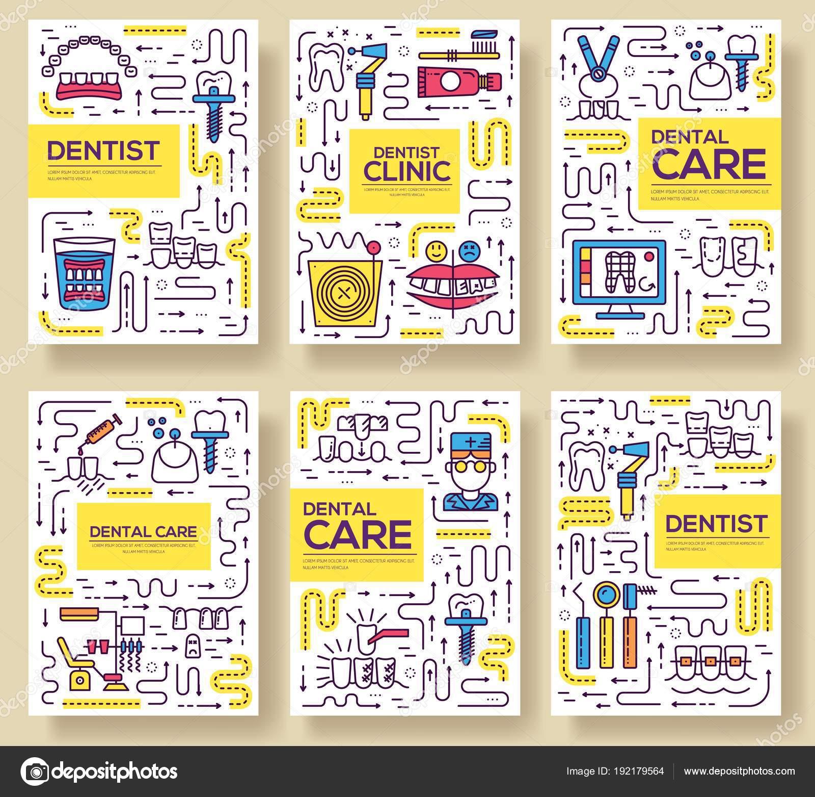 Dünne Linie Zahnarzt Klinik Backen Broschüre Karten festgelegt. Dent ...
