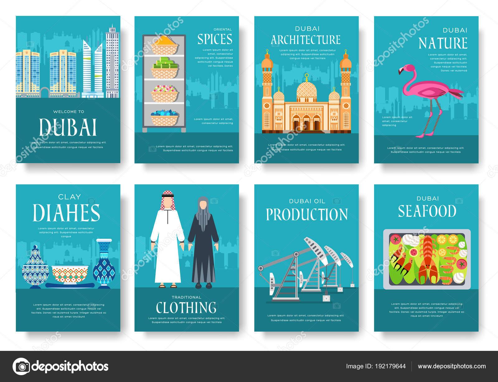 Set de tarjetas de Dubai vector folleto. Plantilla de flyear ...