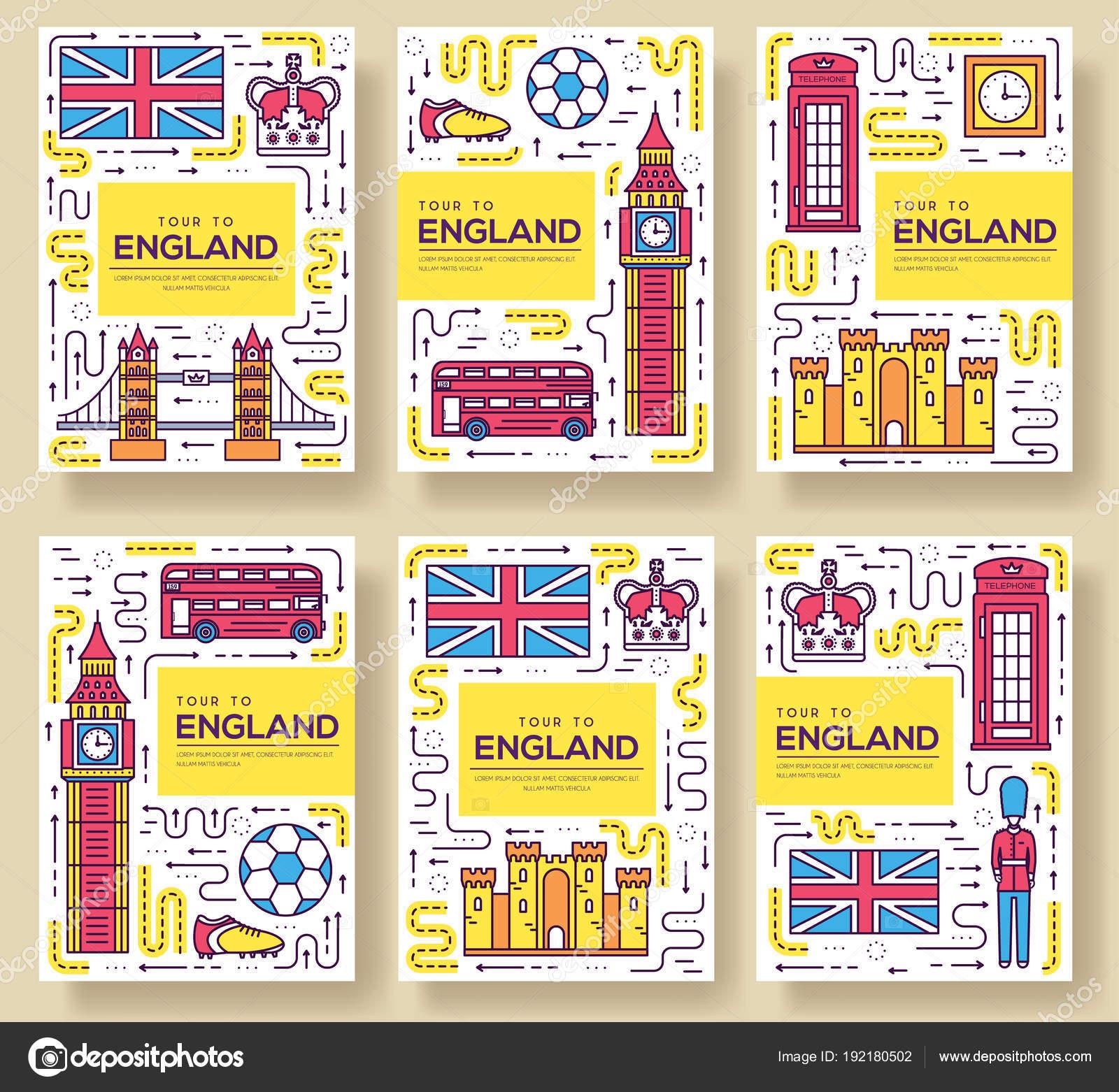 England Vektor Broschüre Karten dünne Linie Set. Land reisen Vorlage ...