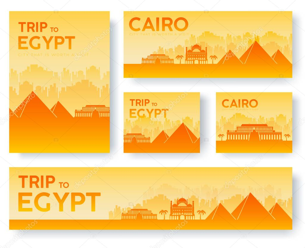 Set of Egypt landscape country ornament travel tour concept. Culture traditional, flyer, magazine, book, poster, abstract, element. Vector decorative ethnic greeting card or invitation design