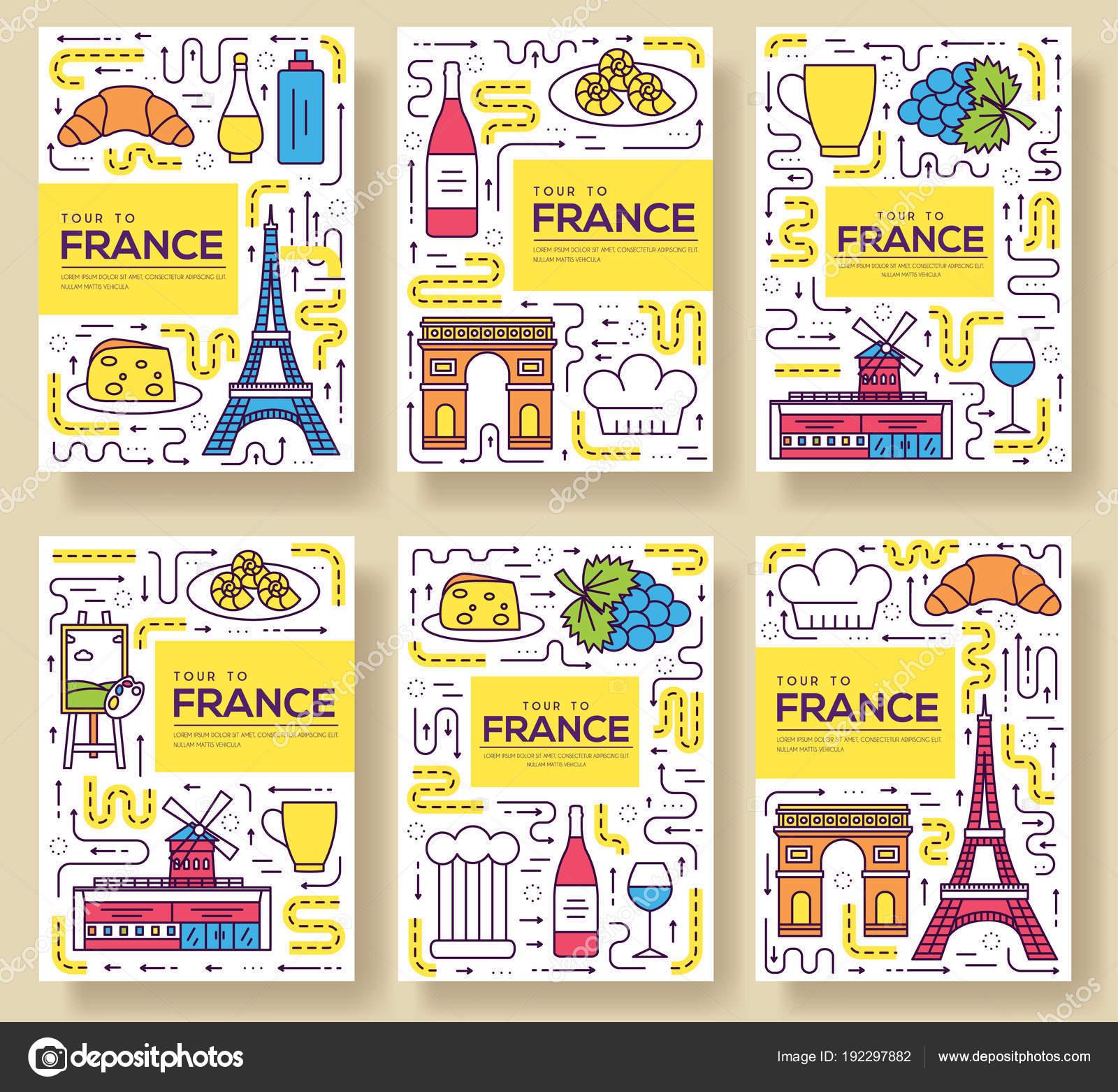 Tarjetas de catálogo Francia vector delgada línea. Monumento del ...