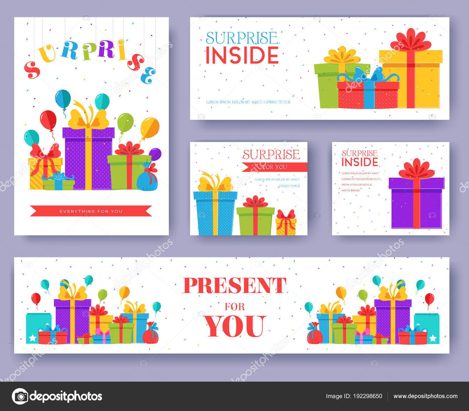 Informationen-Geschenk-Karten Set. Überraschung-Vorlage von Flyear ...