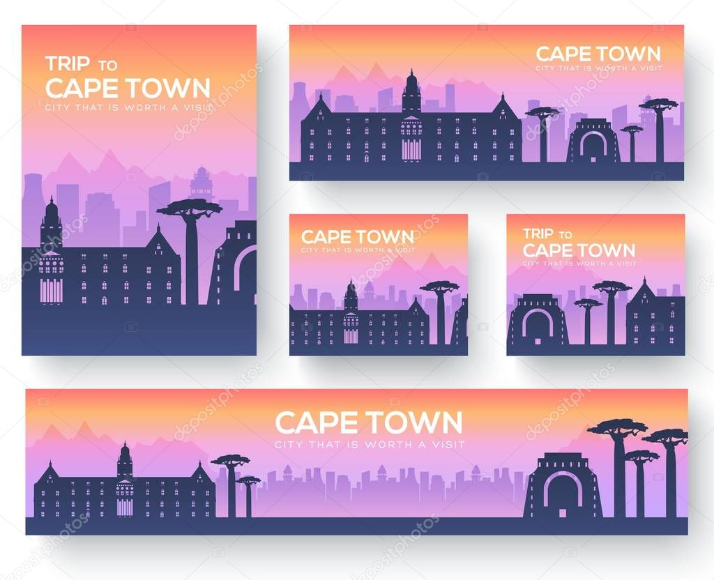 Set of cape town landscape country ornament travel tour concept. Culture traditional, magazine, book, poster, abstract, element. Vector decorative ethnic greeting card or invitation background