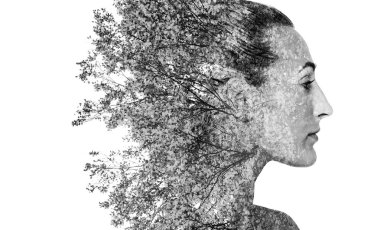 Monochrome double exposure of girl profile portrait and autumn leaves