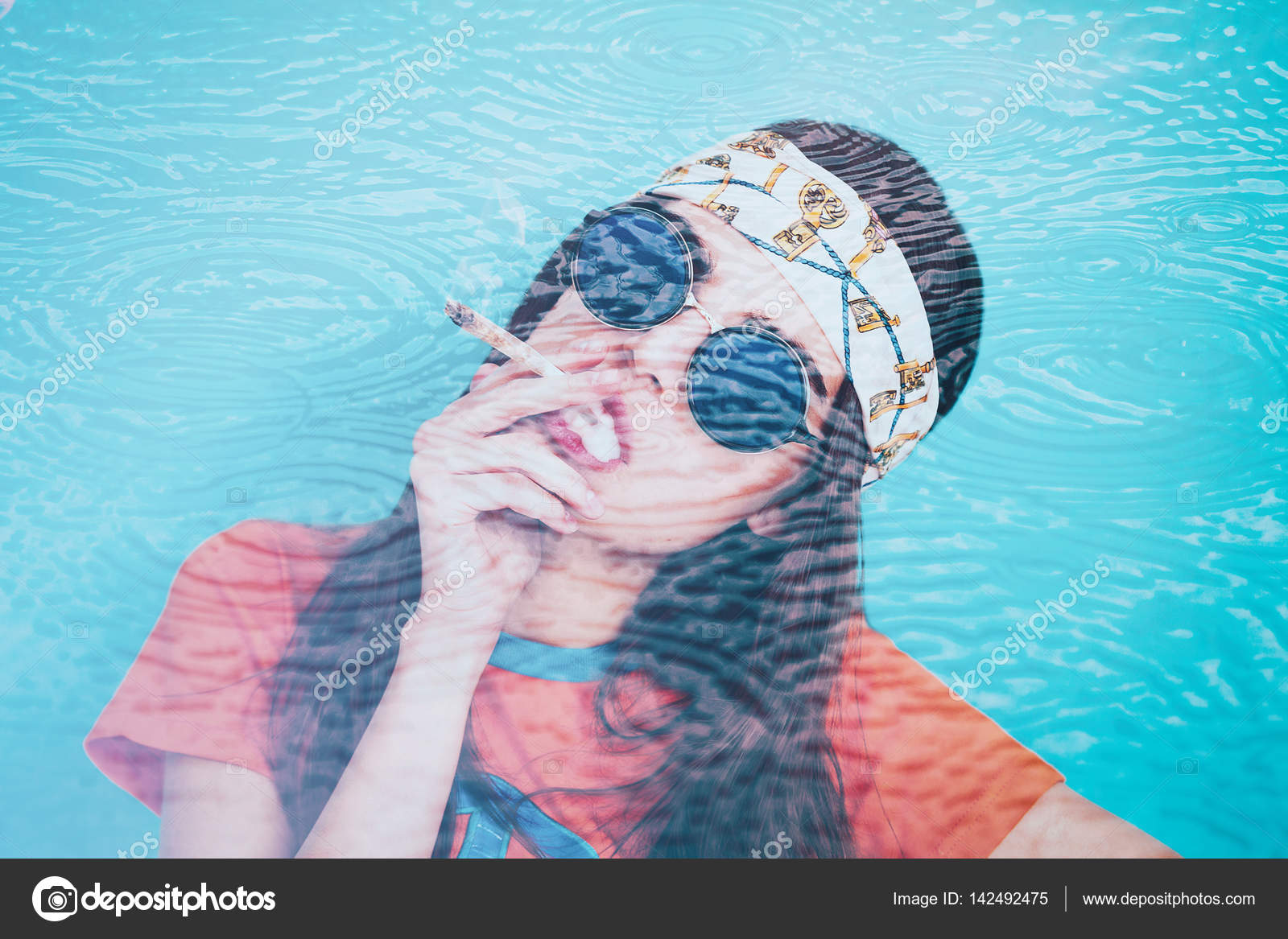 Double exposure of hippy girl smoking weed and rain circles