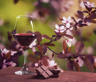 Wine glass with chocolate and pretty cherry tree flowers in Spring
