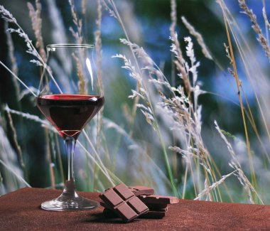 Red wine glass with chocolate and beautiful autumn field