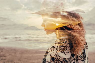 Double exposure of gorgeous woman portrait and sunset on lakescape
