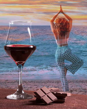 Red wine glass with chocolate and woman practicing yoga with colorful sunset