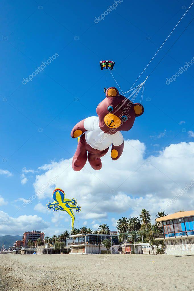 Cute bear-shaped kite at the beach
