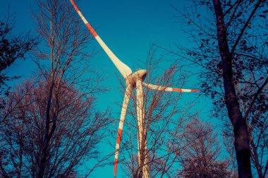 Wind turbine and autumnal treescape