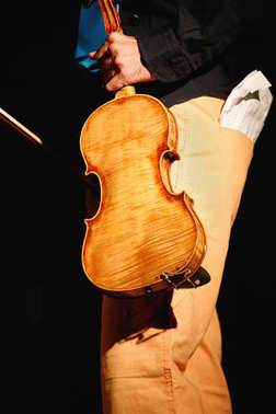 Musician portrait holding violin during a concert