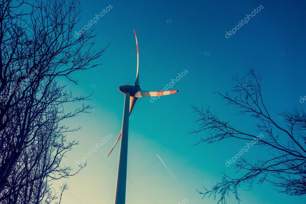 Wind turbine on blue sky and beautiful autumn tree branches