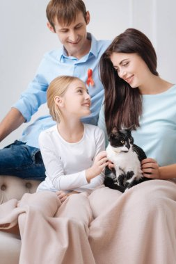 Cute cheerful girl stroking the cat