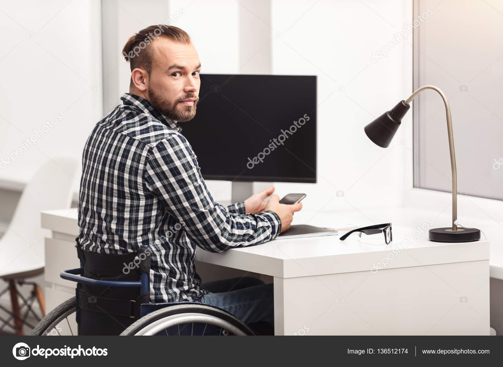 person home office. Young Physically Challenged Person Working In Home Office \u2014 Stock Photo