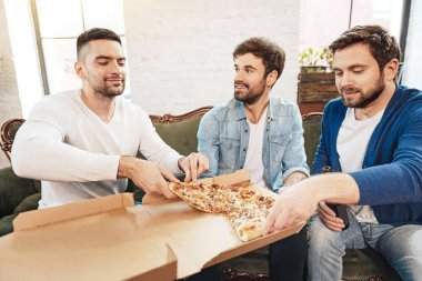 Pleasant male friends sharing a pizza