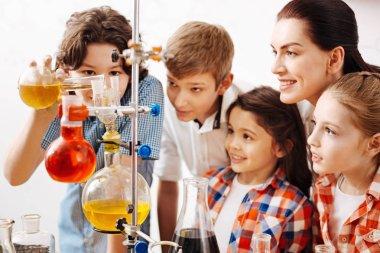 Boy using chemical liquid