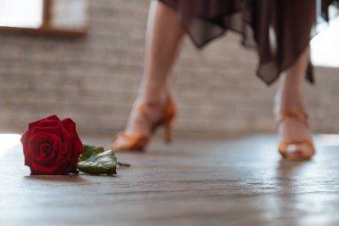 Passionate woman dancing salsa