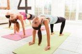 Usmívající se ženy dělají gymnastická cvičení