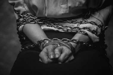 Kidnapper office worker bind with chains