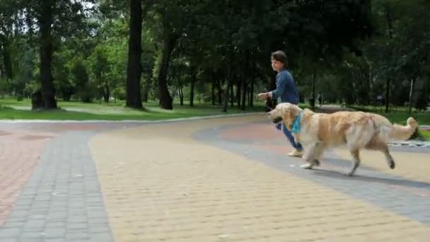 Joyful cute boy running with his purebred dog