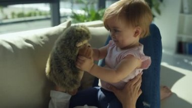 Lovely girl playing with a hedgehog on the sofa